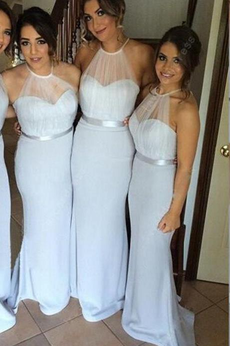 Mermaid Bridesmaid Dress, Long Bridesmaid Dress, Light Silver Gray Bridesmaid Dress, Tulle Bridesmaid Dress, Halter Bridesmaid Dress, Wedding Party Dress, 2016 Bridesmaid Dresses, Cheap Bridesmaid Dress