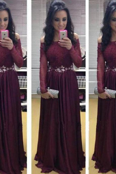 Grape Purple Prom Dresses, Long Prom Dresses, Chiffon Prom Dress, Long Sleeve Prom Dresses, Elegant Prom Dresses, Lace Prom Dresses, Cheap Formal Dress, Saudi Arabic Evening Gowns