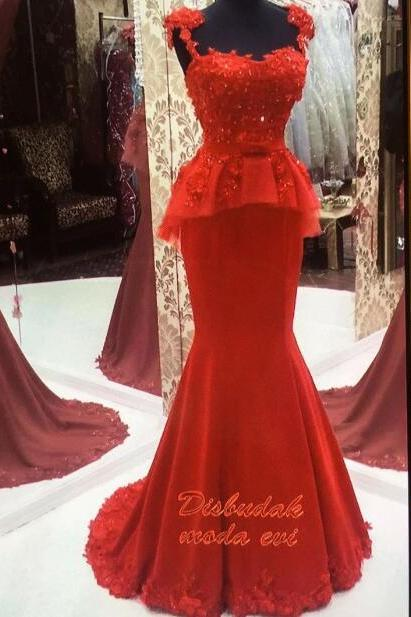 Mermaid Evening Dress, Red Evening Dress, Handmade Flower Evening Dress, Long Evening Dress, Mother Of The Bride Dresses, Lace Evening Dress, Cheap Formal Dress, 2017 Formal Dresses