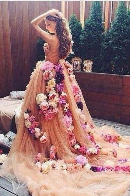 Champagne Prom Dress, Puffy Prom Dress, Handmade Flowers Prom Dress, Prom Dresses 2017, Cheap Prom Dress, Elegant Prom Dress, Floral Prom Dresses