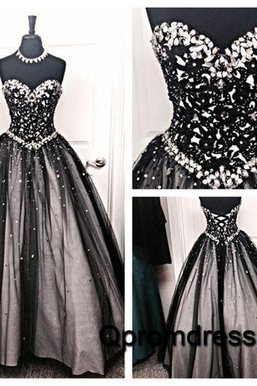 Black Prom Dress, Crystals Prom Dresses, A Line Prom Dress, Prom Dresses 2017, Elegant Prom Dress, Long Prom Dress, Evening Dresses 2017, Luxury Prom Dresses