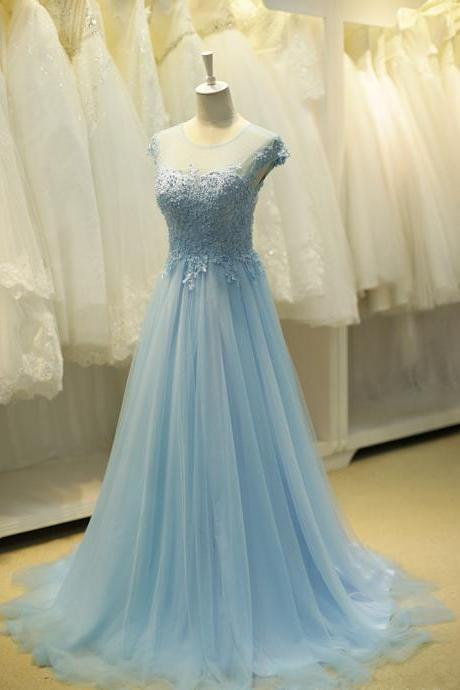 Lace Prom Dress, Tulle Prom Dress, Blue Prom Dress, Elegant Prom Dress, Prom Dresses 2017, Long Prom Dress, Cheap Prom Dress, Women Prom Gowns