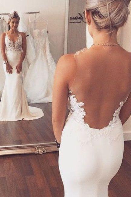 Mermaid Wedding Dress, Cheap Wedding Dress, Lace Applique Wedding Dress, Sheer Back Wedding Dress, Beach Wedding Dress, Vestido Para Novia