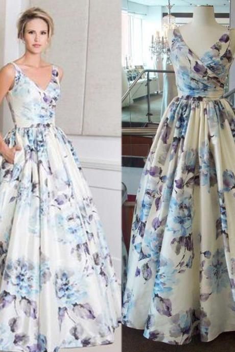 V Neck Prom Dress, Gorgeous Prom Dress, Printed Prom Dress, Elegant Prom Dress, Modest Prom Dress, Cheap Graduation Dresses, Floor Length Prom Dress, 2017 New Arrival Prom Dress
