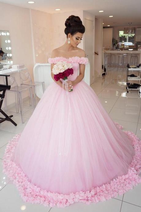 Pink Wedding Dress, Princess Wedding Dress, Elegant Wedding Dress, Soft Tulle Wedding Dress, Handmade Flowers Wedding Dress, Gorgeous Wedding Dress, 2017 Wedding Dresses
