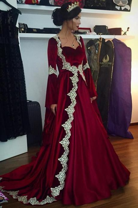 Burgundy Evening Dress, Dubai Kaftan, Velvet Evening Dress, Cheap Prom Dress, A Line Prom Dress, Lace Applique Evening Dress, Formal Evening Dresses, Muslim Evening Dress