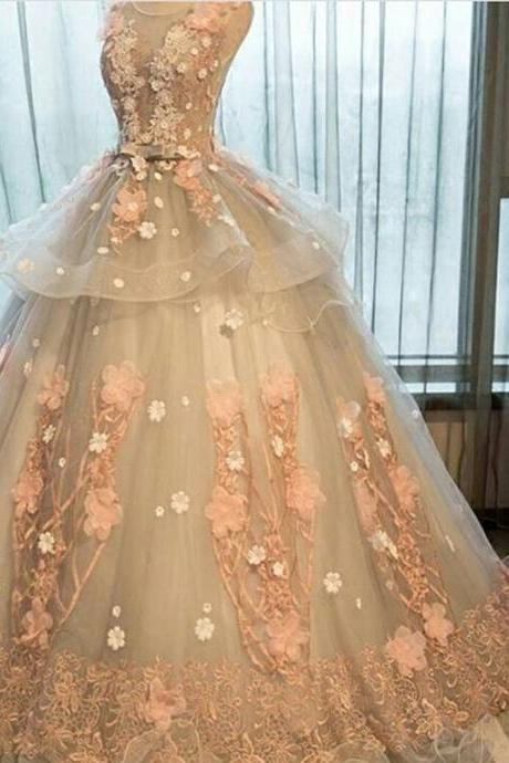 Floral Prom Dresses, Light Silver Prom Dress, Pink Flowers Prom Dress, Elegant Prom Dresses, Princess Prom Dress, Floor Length Prom Dress, Cheap Prom Dress, Lace Prom Dress, Unique Prom Dress, Ball Gown 2017