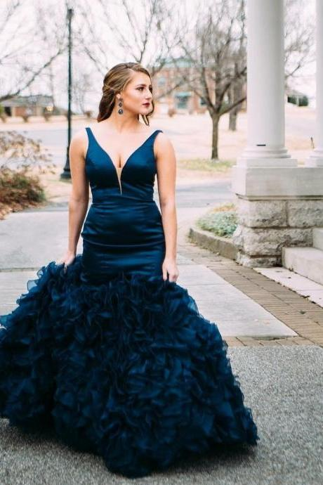 V Neck Evening Dress, Vintage Evening Dress, Teal Blue Evening Dress, Mermaid Evening Dress, Long Evening Dress, Elegant Evening Dress, Tiered Evening Dress, Modest Evening Dress, Cheap Evening Dress, Women Formal Dress, Sexy Formal Dress