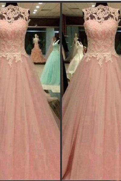 Dusty Pink Prom Dress, Lace Prom Dress, Real Photo Prom Dress, Elegant Prom Dress, Puffy Prom Dress, Tulle Prom Dress, Prom Dresses 2017, Cheap Graduation Dresses, Women Formal Party Dresses