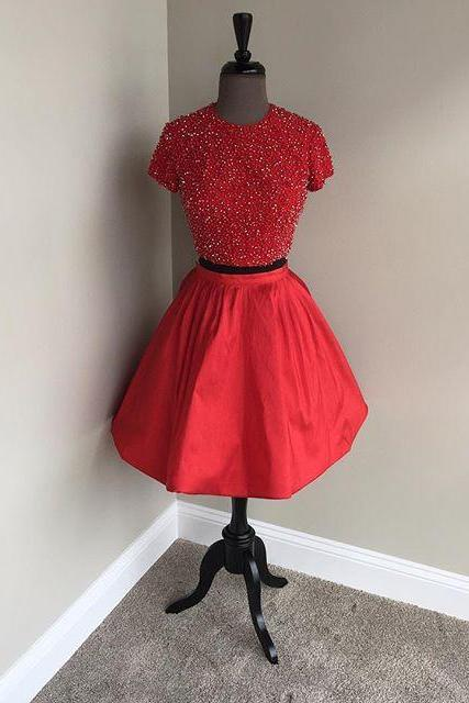 2 Piece Prom Dresses, Short Prom Dress, Beaded Prom Dress, Short Sleeve Prom Dress, Vintage Prom Dress, Homecoming Dresses 2017, Red Homecoming Dress, Cocktail Party Dress, Satin Prom Dress