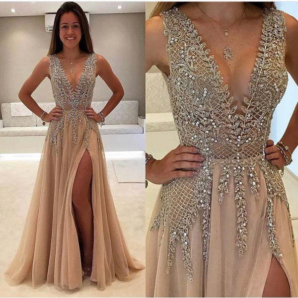 V Neck Prom Dress, Beaded Prom Dress, A Line Prom Dress, Champagne Prom Dress, Prom Dresses 2018, Long Prom Dress, Cheap Prom Dress, Vestido De Festa, Luxury Prom Dress