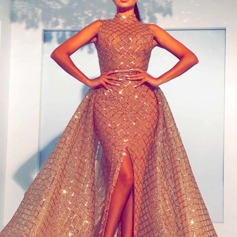 Detachable Skirt Prom Dress, Gold Prom Dress, Cheap Prom Dress, High Neck Prom Dress, Prom Dresses 2018, Vestido De Festa, Floor Length Prom Dress, Elegant Prom Dress,.Arabic Prom Dress