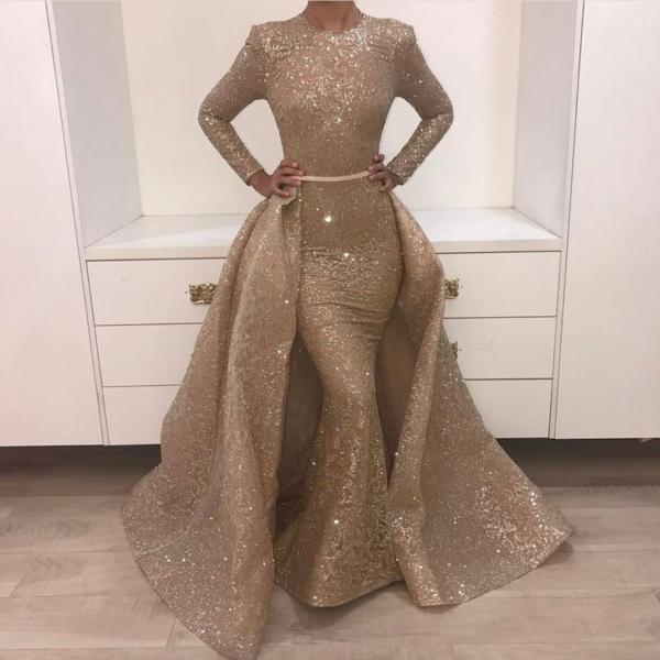 Gold Prom Dress, Detachable Skirt Prom Dress, High Neck Prom Dress, Long Sleeve Prom Dress, Prom Dresses 2018, Floor Legnth Prom Dress, Sparkly Prom Dress, Prom Dresses for Women