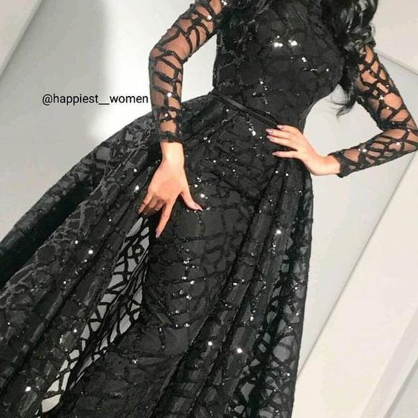 Black Prom Dress, Detachable Skirt Prom Dress, Long Sleeve Prom Dress, Elegant Prom Dress, Floor Length Prom Dress, Cheap Prom Dress, Sequin Prom Dress, Prom Dresses 2018, Saudi Arabic Prom Dress