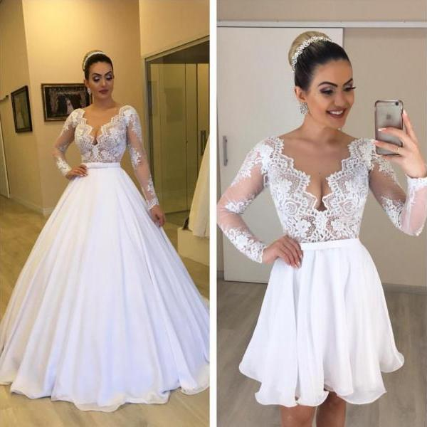 Detachable Skirt Wedding Dress, Lace Applique Wedding Dress, Wedding Dresses 2019, Vestido De Noiva, Robe De Mariee, Long Sleeve Wedding Dress, Elegant Wedding Dress, V Neck Wedding Dress