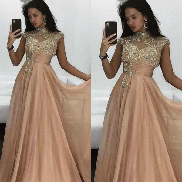 Champagne Prom Dress, High Neck Prom Dress, Cap Sleeve Prom Dress, Beaded Prom Dress, Crystals Prom Dress, Chiffon Prom Dress, Empire Prom Dress, Prom Dresses 2019