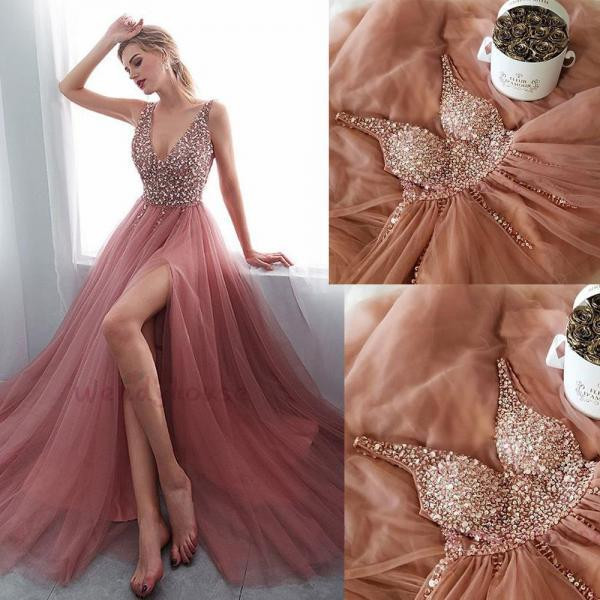 Dusty Pink Prom Dress, Deep V Neck Prom Dress, Crystals Prom Dress, Elegant Prom Dress, A Line Prom Dress, Prom Gown, Vestido De Festa, Robe De Soiree, Sexy Formal Dress