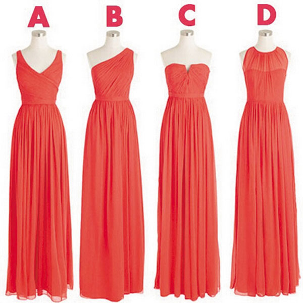 Chiffon Coral Bridesmaid Dresses, Long Cheap Bridesmaid Dress, Mismatch Bridesmaid Dresses 2016, Elegant Wedding Party Dress, Prom Dresses