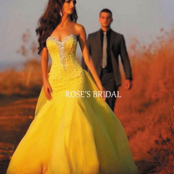 Beaded Detachable Prom Dress, Yellow Prom Gowns, Sexy Evening Gowns, Senior Formal Dresses, Sweetheart Neck Prom Dresses, Long Prom Dresses, Party Dresses For Women