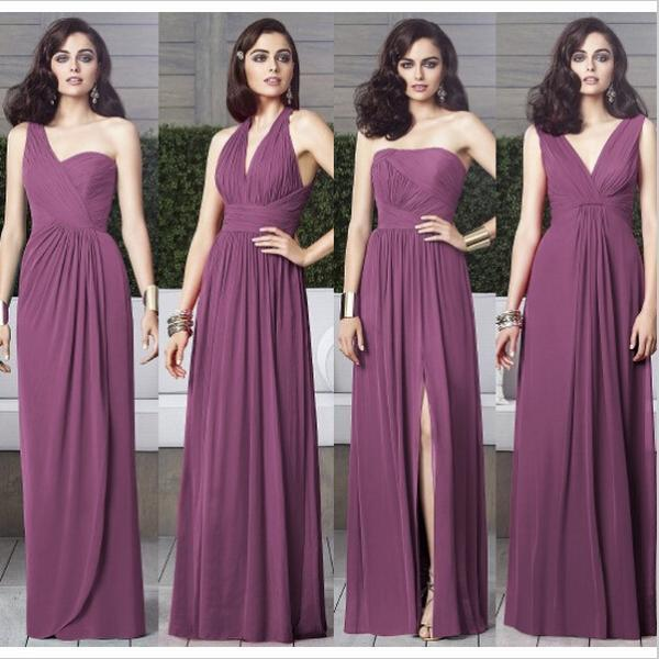 Purple mismatched bridesmaid dresses long bridesmaid for Cheap chiffon wedding dresses
