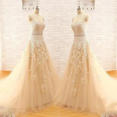 Champagne Prom Dress, A Line Prom Dress, Lace Applique Prom Dress, Tulle Prom Dress, Prom Dresses 2016, Cheap Prom Dress, Simple Prom Dress, Custom Prom Dress, Elegant Prom Dress, Prom Dresses 2015