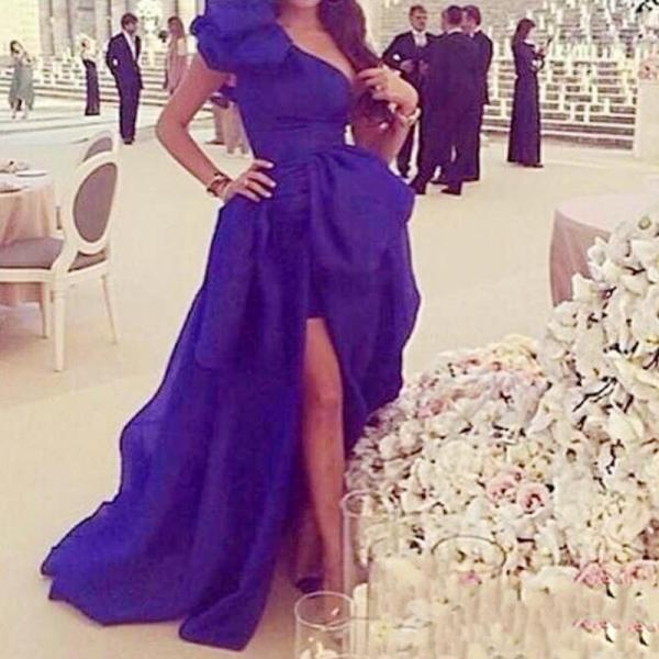 Royal Blue Evening Dresses, 2016 One Shoulder Prom Dresses, Organza Women Evening Gowns, Side Slit Prom Dress. High Front and Low Back Party Dresses, New Arrival Formal Dresses, Fast Shipping Special Occasion Dresses, prom dress vestidos de festa, vestido de baile robe prom dresses