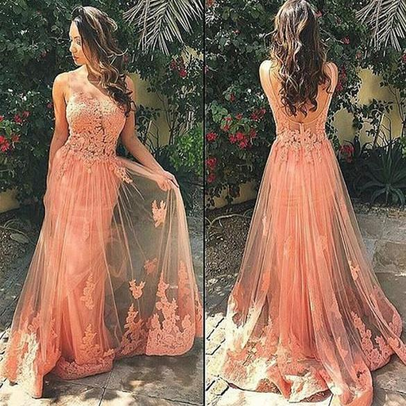 Coral Colored Prom Dress, Lace Prom Dress, Sexy Prom Dress, Tulle Prom Dress, See Through Prom Dress, Backless Prom Dress, Long Prom Dress, Cheap Prom Gown